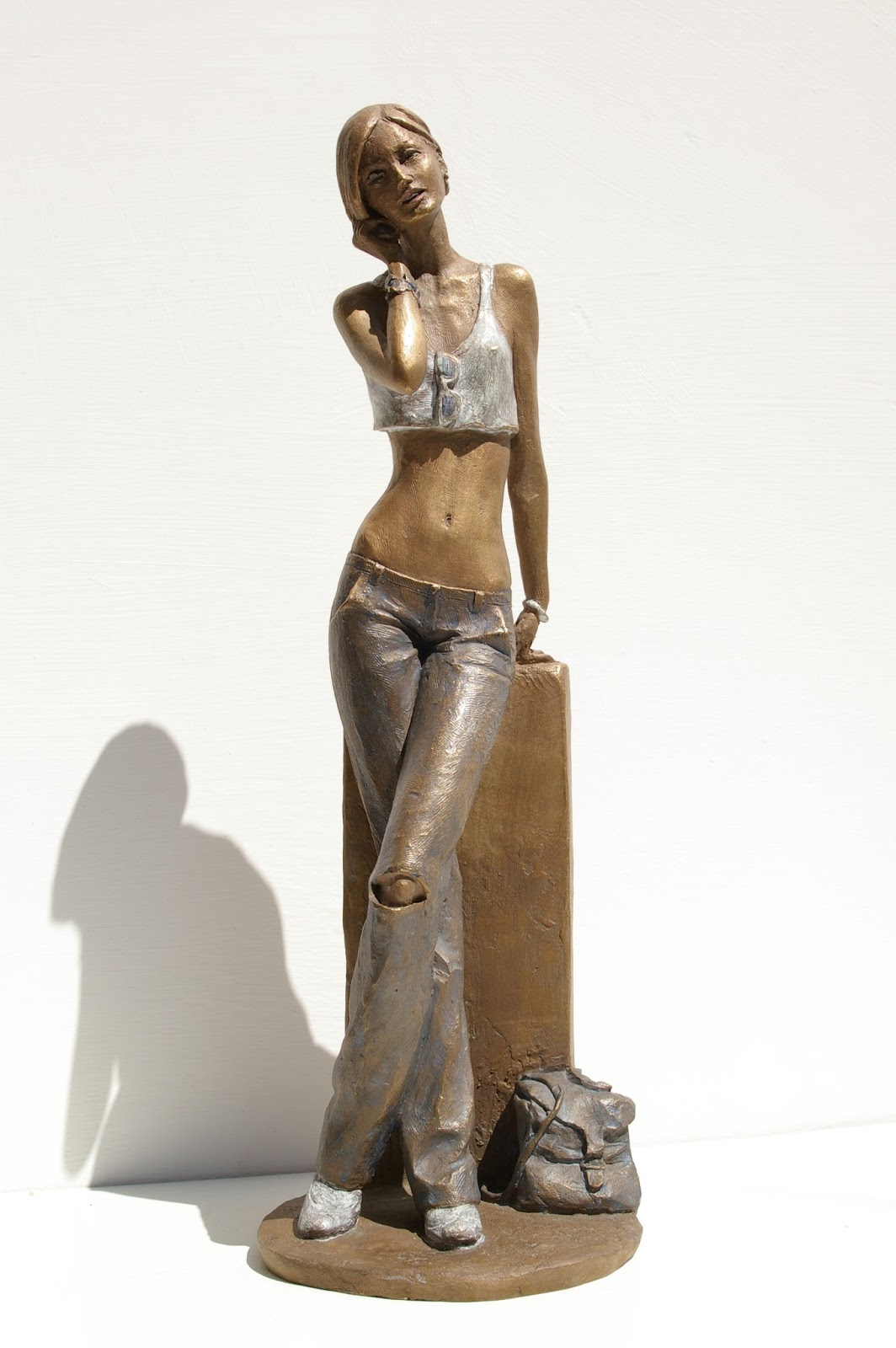 girl as nude statue