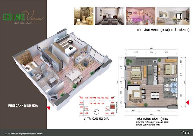 Thiết kế căn hô 04A chung cư Eco Lake View