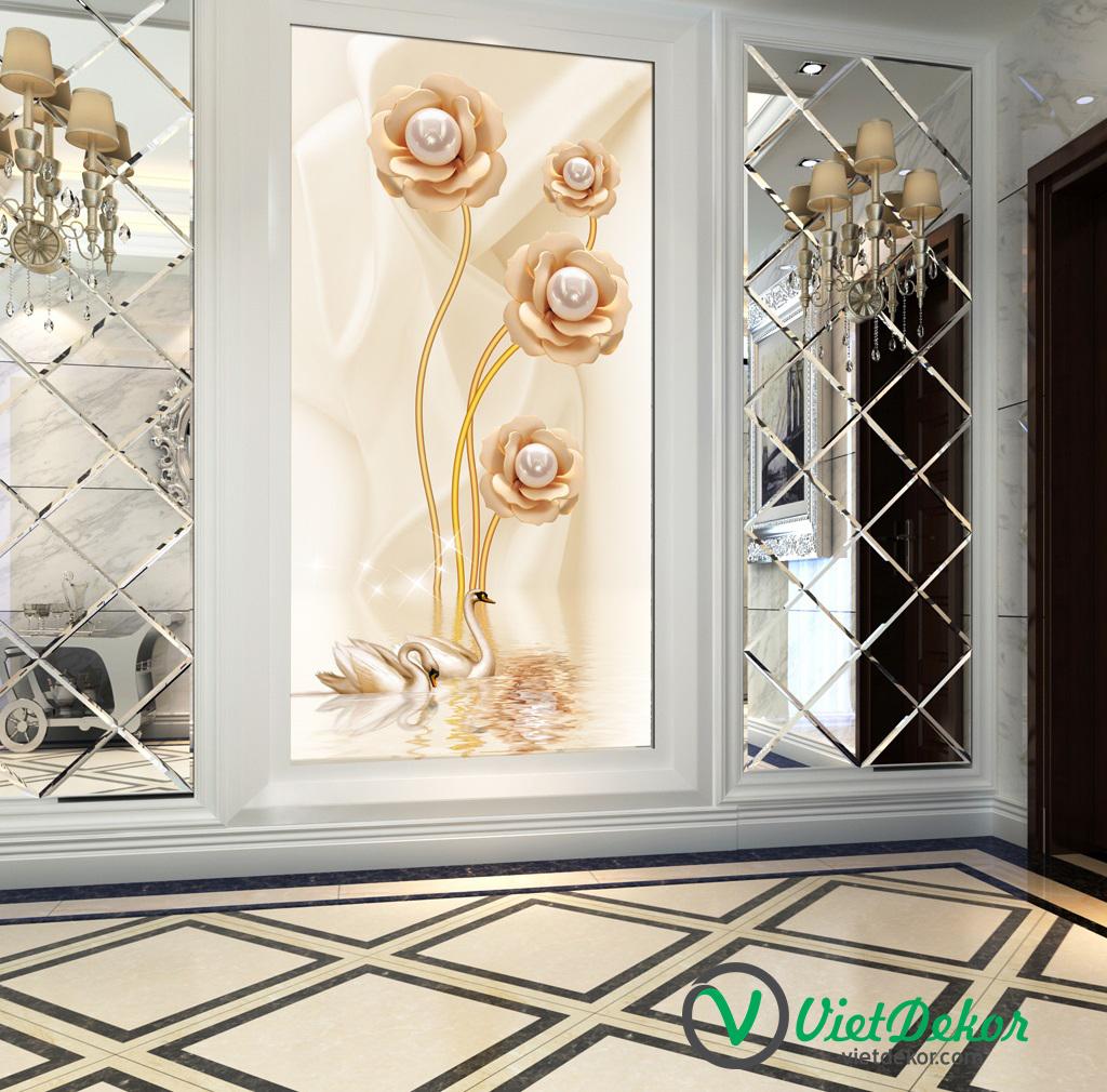 Tranh 3d khổ dọc hoa ngọc trai trang trí sảnh phòng