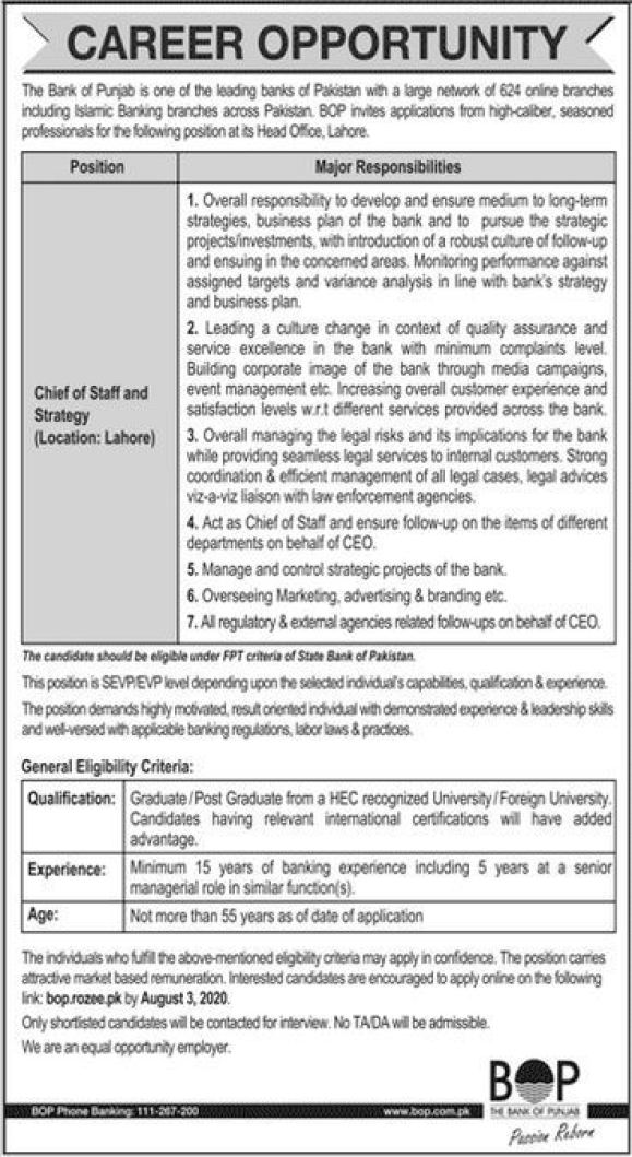 Bank of Punjab Jobs 2020 BOP Online Apply Latest Advertisement
