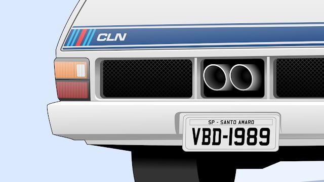"""Imagem mostrando o detalhe da traseira da Ford Belina II """"650 CLN"""""""