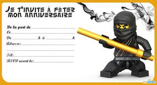 Carte invitation anniversaire ninjago à imprimer gratuitement