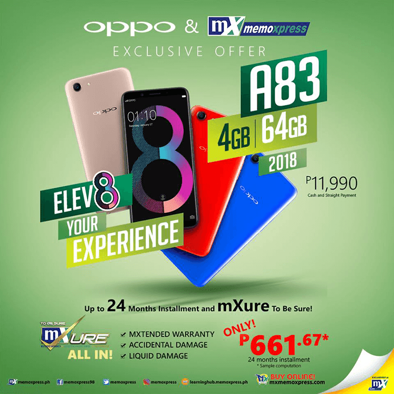 OPPO A83 2018 with 4GB RAM and 64GB storage is priced at PHP 11,990!