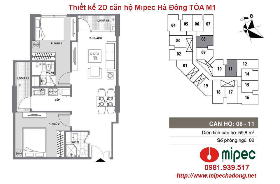 Hình ảnh Thiết kế căn hộ Mipec Hà Đông tòa M1 Căn 08 và 11
