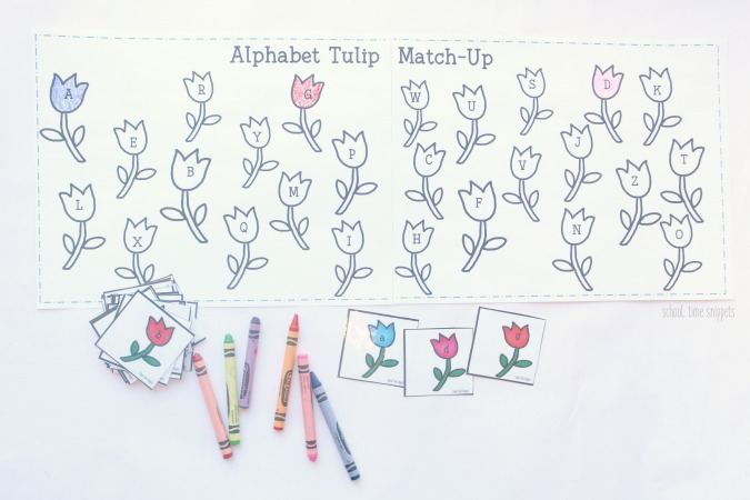 Match and Color Flowers Alphabet Printable