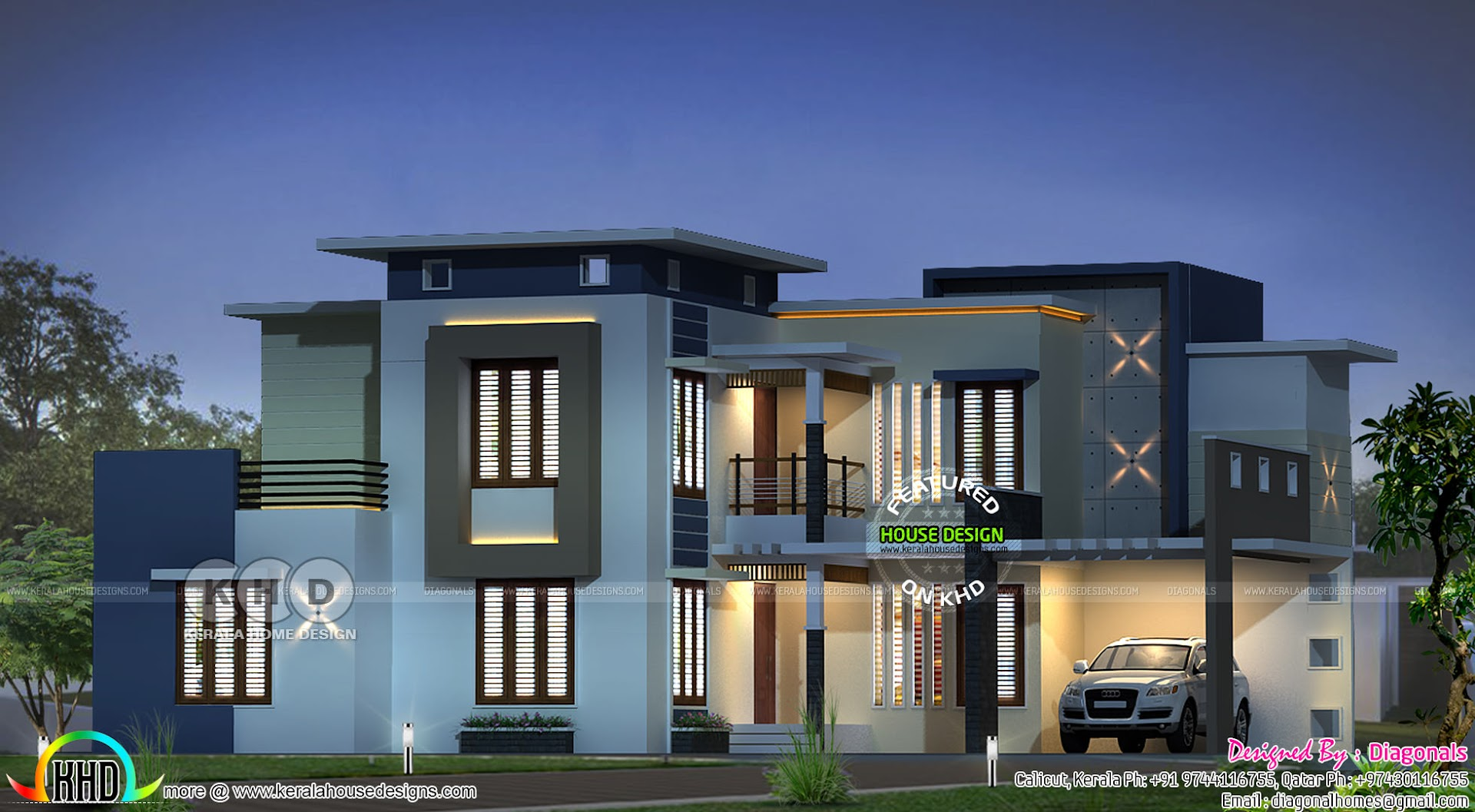 3808 Sq Ft 4 Bedroom Modern Contemporary Home Kerala Home