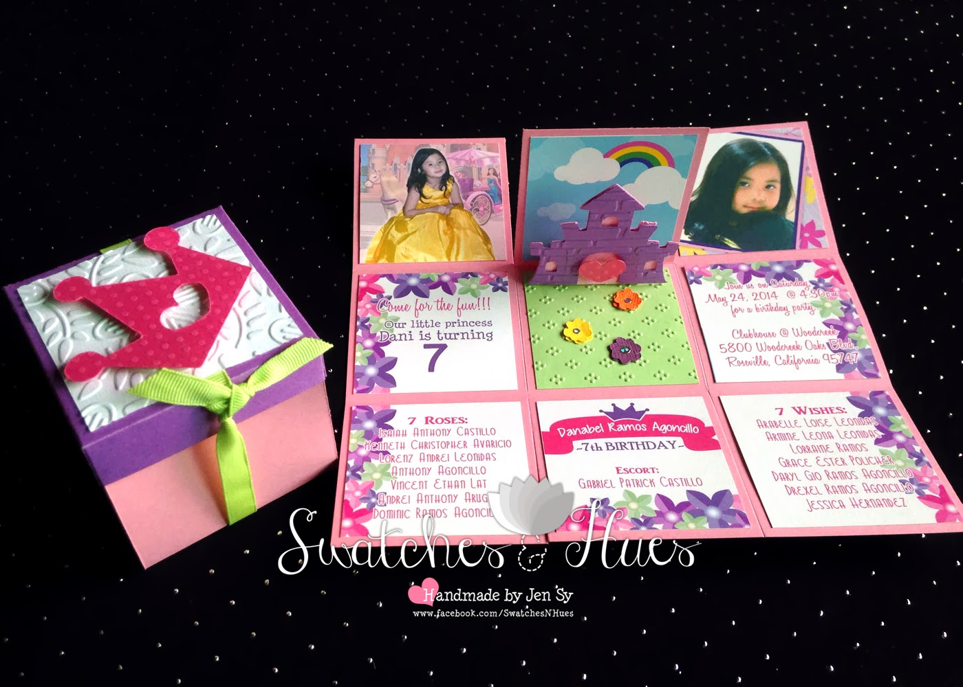 Pop Box Invitation For A 7th Princess Themed Birthday Party