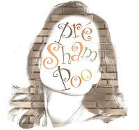 """""""Pré shampoo"""" estampado no rosto de uma mulher com os cabelos de tijolos."""