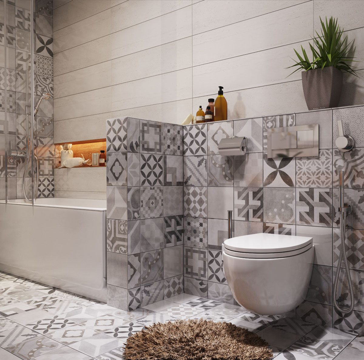 beautiful gray pattern bathroom tile for small bathrooms