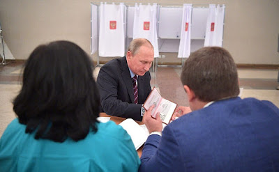 President Putin visited polling station No. 2151 in Moscow's Gagarinsky District.