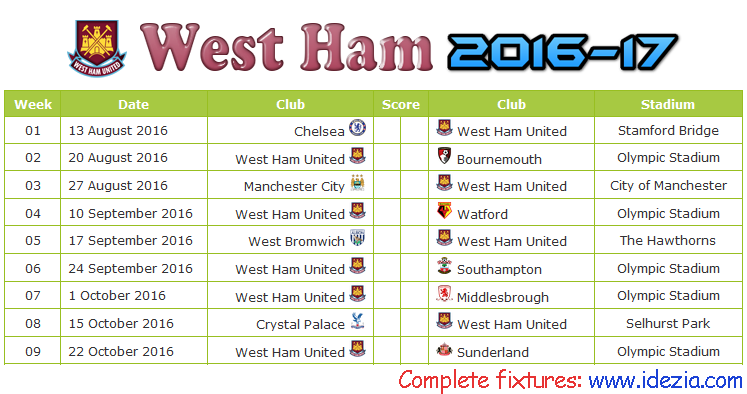 Download Jadwal West Ham United 2016-2017 File PDF - Download Kalender Lengkap Pertandingan West Ham United 2016-2017 File PDF - Download West Ham United Schedule Full Fixture File PDF - Schedule with Score Coloumn