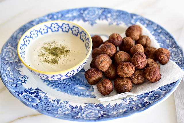 Fried Kibbeh Bites with Tahini Dipping Sauce