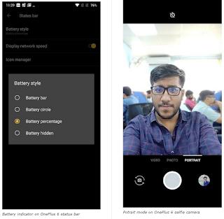 OnePlus 6 Selfie Portrait Mode, Persentase Baterai di Status Bar yang ditambahkan dengan Fitur OxygenOS 5.1.6 di OnePlus 6