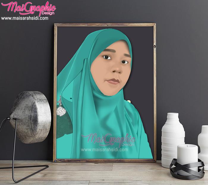ilustrasi wanita bertudung, digital portrait