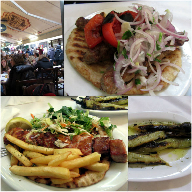 Athens, the ancient city of our past by Laka kuharica: Monastiraki on Sunday, lamb kebab, souvlaki, hot peppers.