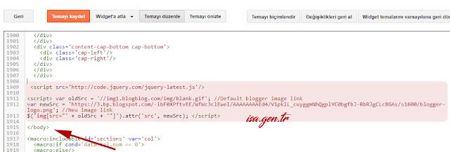 blogger kod eklenmesi