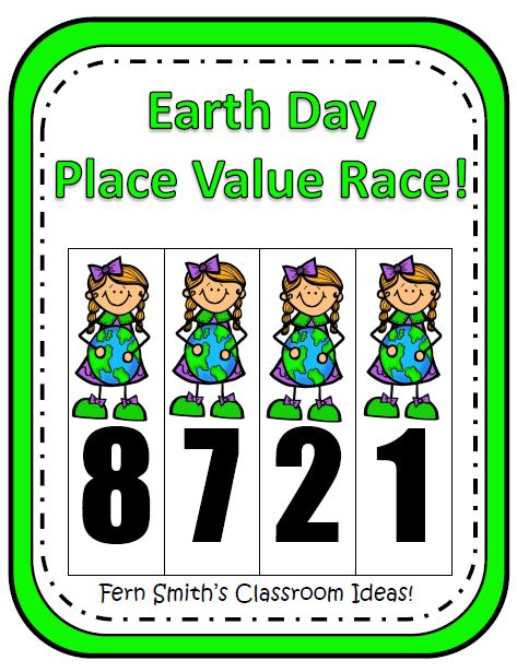 Fern Smith's Place Value Race Game Earth Day Themed
