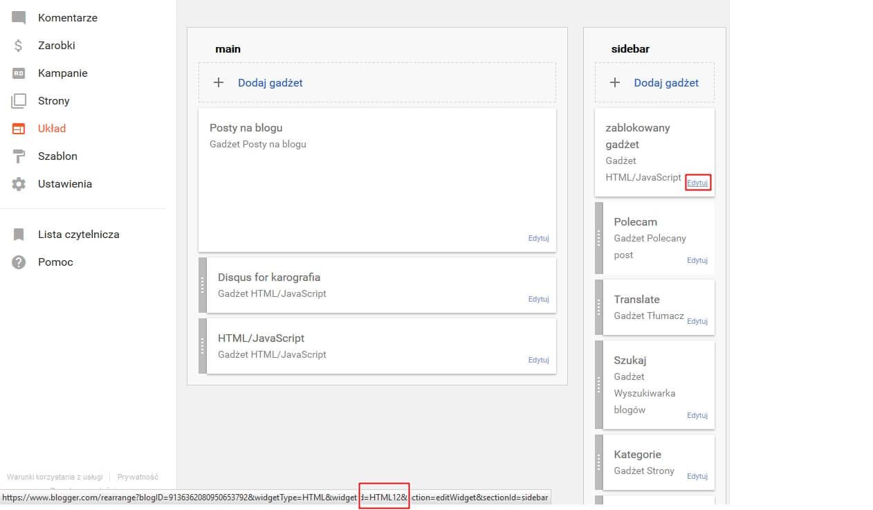 Jak usunąć zablokowany gadżet w bloggerze? - jak ustalić ID