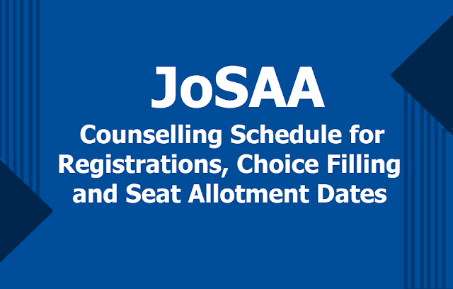 JoSAA Registrations, Choice Filling Started form June 16, 2019, Seat Allotment Result Dates