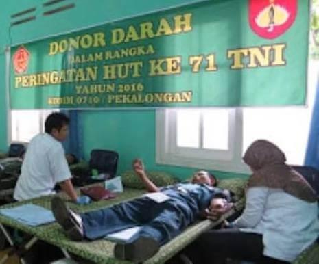 Peringati HUT Kodam, Kodim 0710/Pekalongan Donorkan Darah