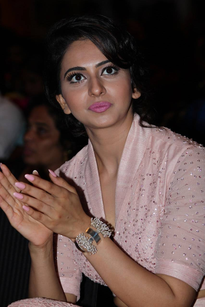Rakul Preet Stills At Film Audio Lunch In Pink Dress