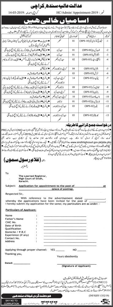 Sindh High Court Karachi jobs 2019, Download Application form
