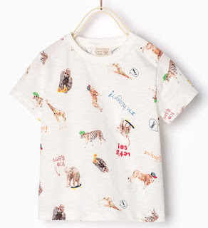 Cool T Shirt for kids by zara.com with different animals on