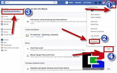 cara ganti kata sandi facebook di  lewat pc