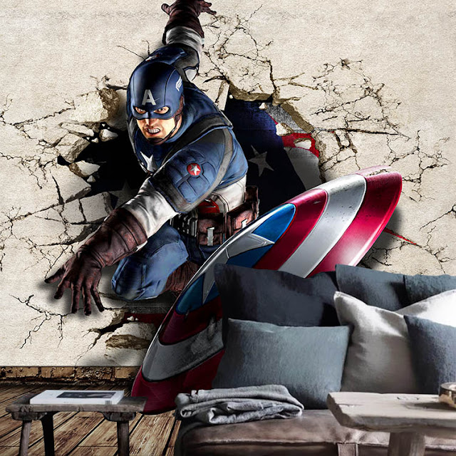 marvel wall murals 3d Hero wallpaper mural childrens room comics Photo Wallpaper Kids Boys captain america breaking through wall