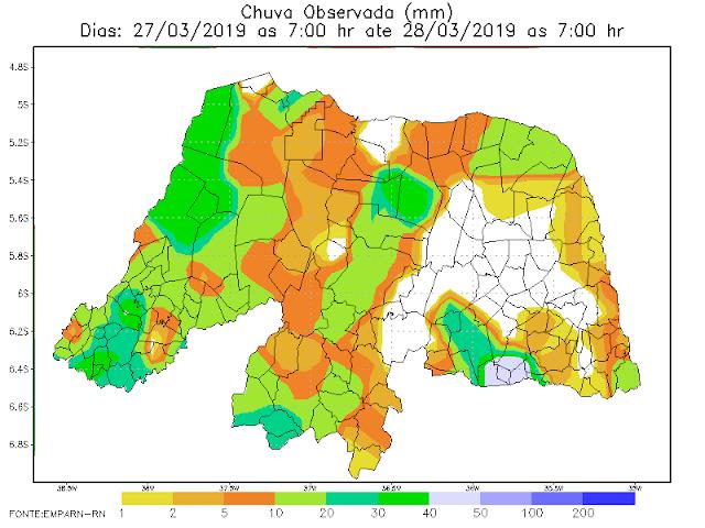 EMPARN registra chuvas em diversas cidades do Estado