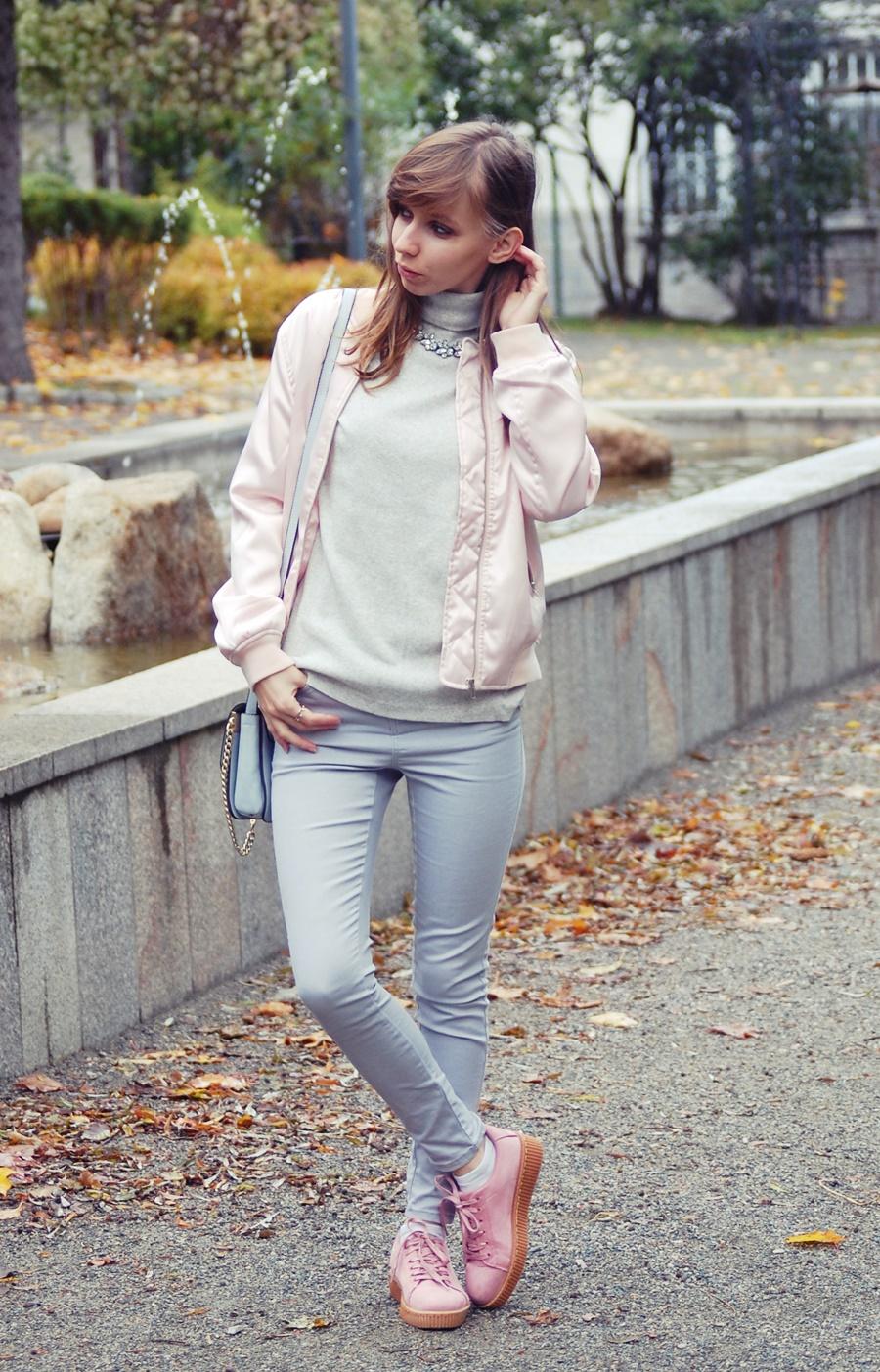 Szara stylizacja z kroplą różu | gray and pink