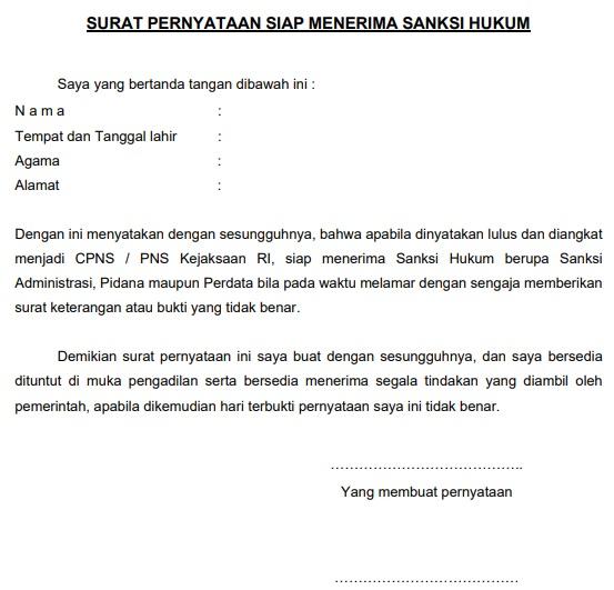gambar contoh Surat Pernyataan Siap Menerima Sanksi Hukum