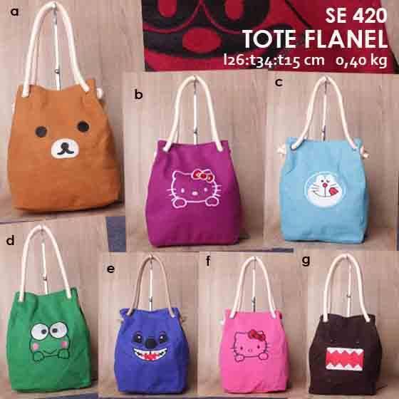 Jual Online Tote Bag Karakter Kartun Tali Sumbu Murah - Flanel SE 420