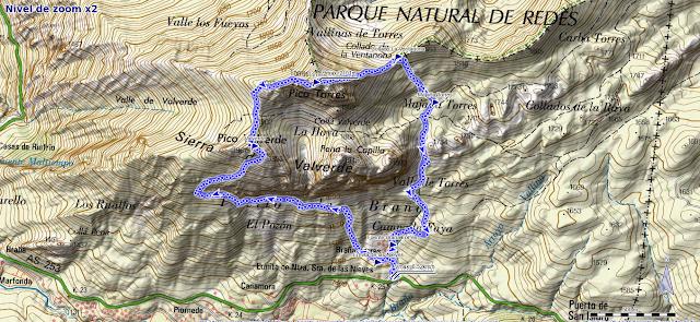 Ruta al Pico Torres y Valverde: Mapa de la ruta al Torres desde Braña Torres