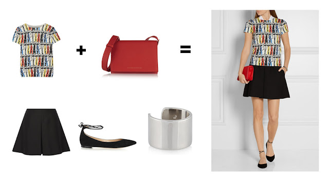 Сочетание красной сумки и блузки с красным принтом