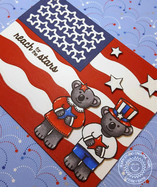 Sunny Studio Stamps: Fourth of July Flag Card by Lindsey Bailey (using Stars & Stripes, Comfy Creatures, Wavy Borders & Star Border die)