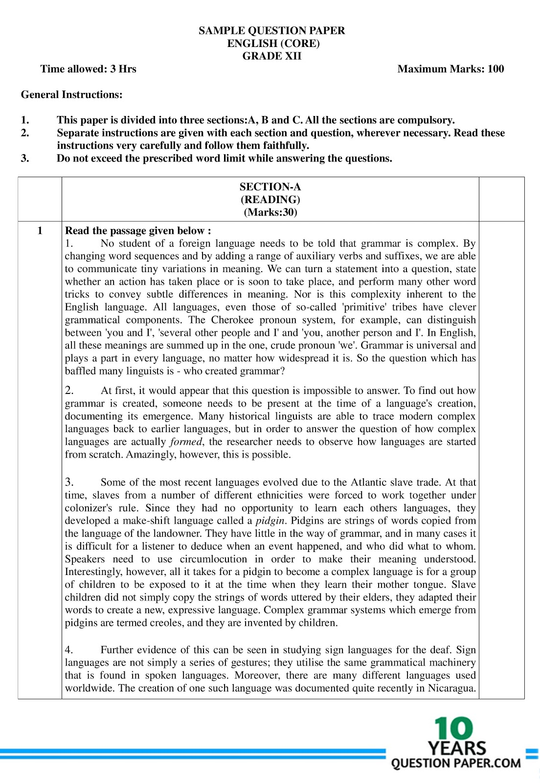 CBSE class 12th English Core sample paper