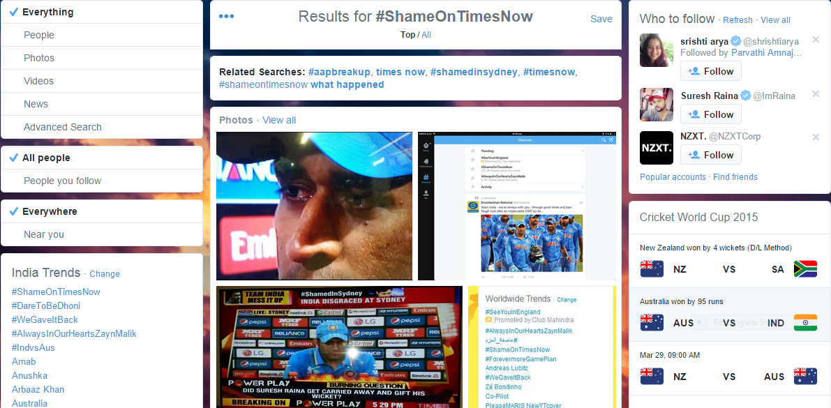 TimesNow Shamed Publicly on Twitter with #ShameOnTimesNow