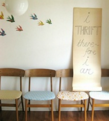 i THRIFT, therefore i am, vintage chairs, birds on wall