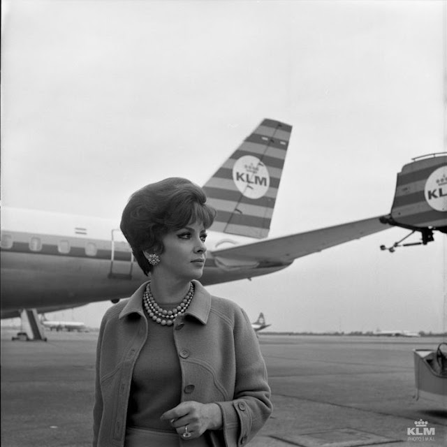 Gina Lollobrigida flying KLM Dutch Airlines