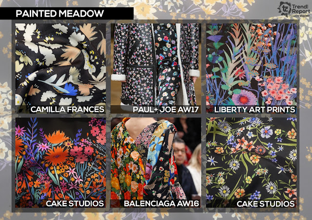 Textile Candy, painted meadow, painted florals, hand painted flowers, floral fashion, watercolour print, cake studios, Camilla Frances, Paul and joe, Liberty art prints, Balenziaga, Premiere vision, trend report, trend forecasting, Spring/Summer 2018, SS18