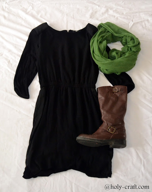 little black dress with scarf and boots