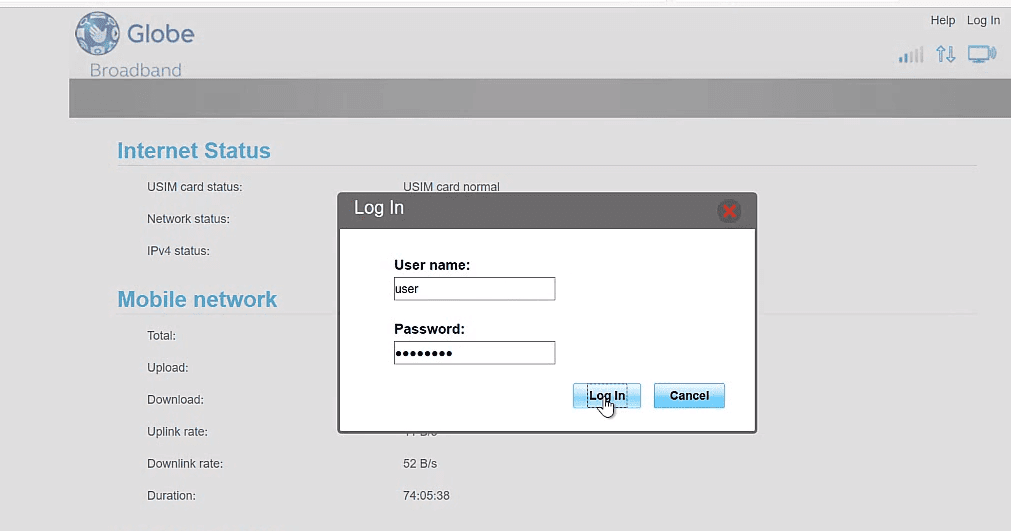 Globe B315s-936 Router Username and Admin Password
