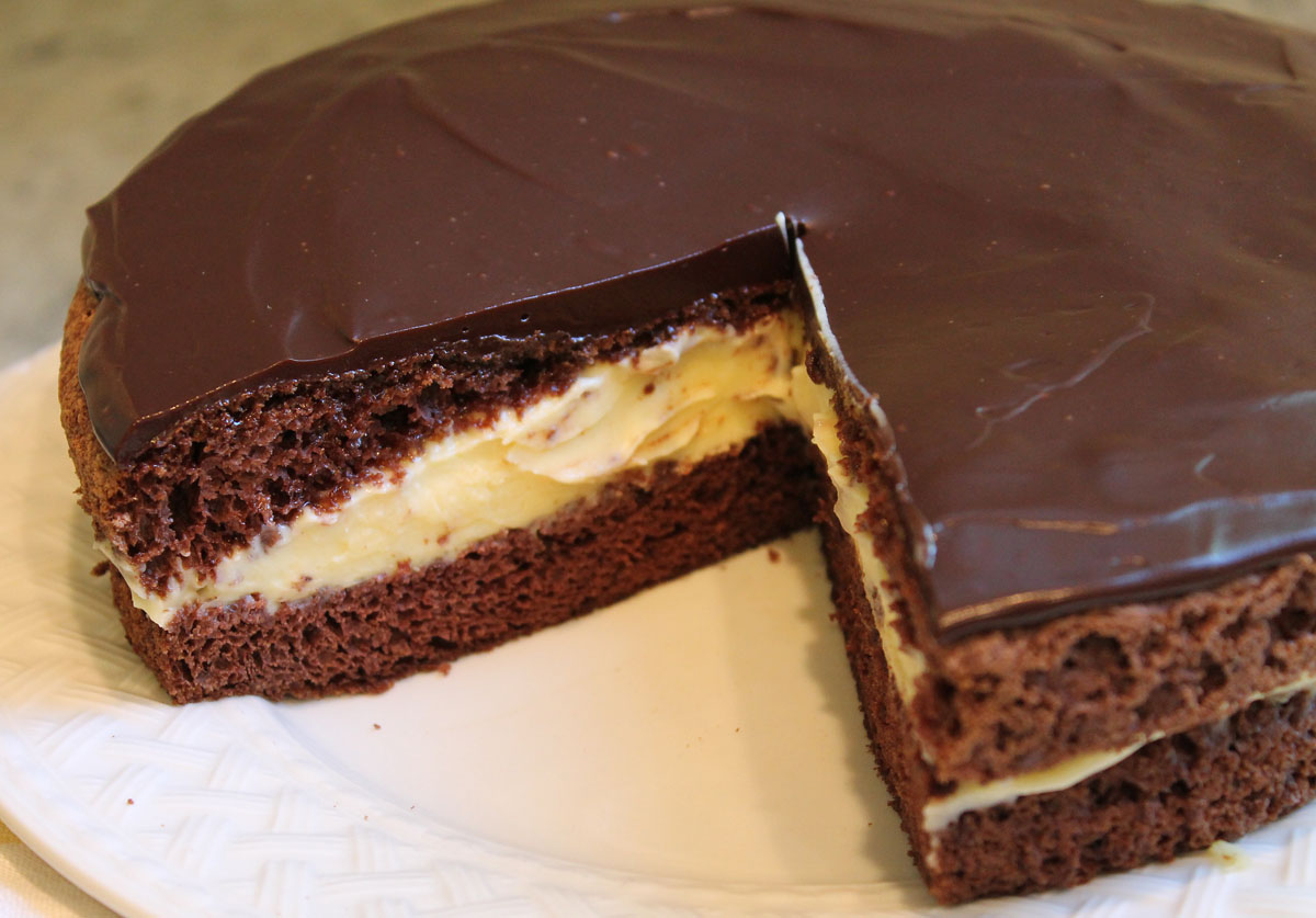 The Best Chocolate Boston Cream Pie You'll Ever Taste - Just One Donna ...