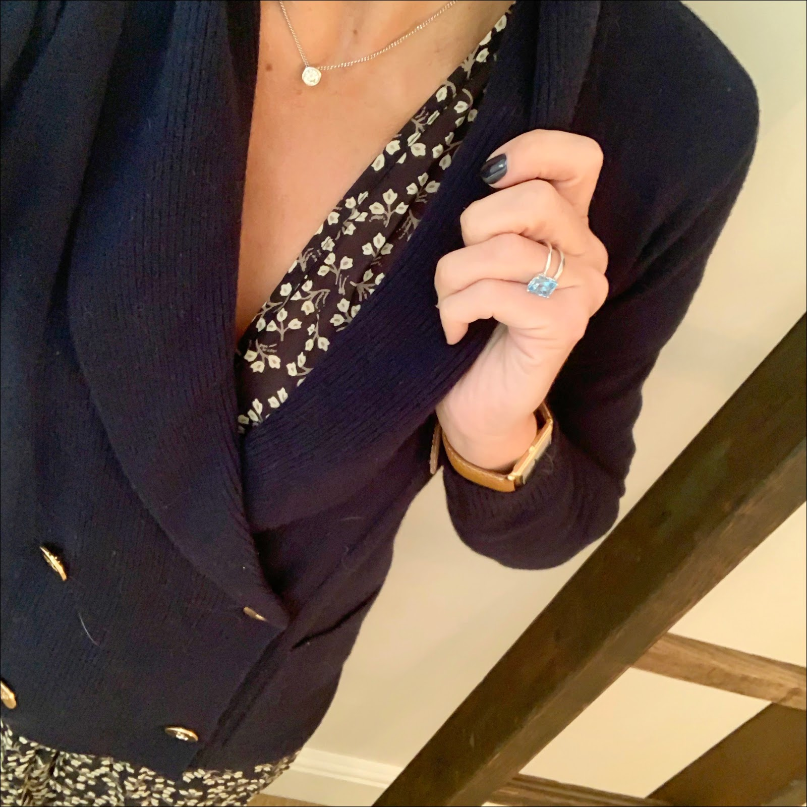 my midlife fashion, jones bootmaker ella leather loafers, ralph lauren double breasted knitted jacket, ganni floral maxi dress