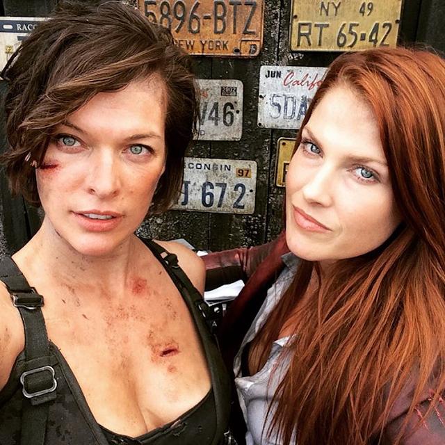 Milla Jovovich şi Ali Larter pe platourile de filmare pentru Resident Evil: The Final Chapter