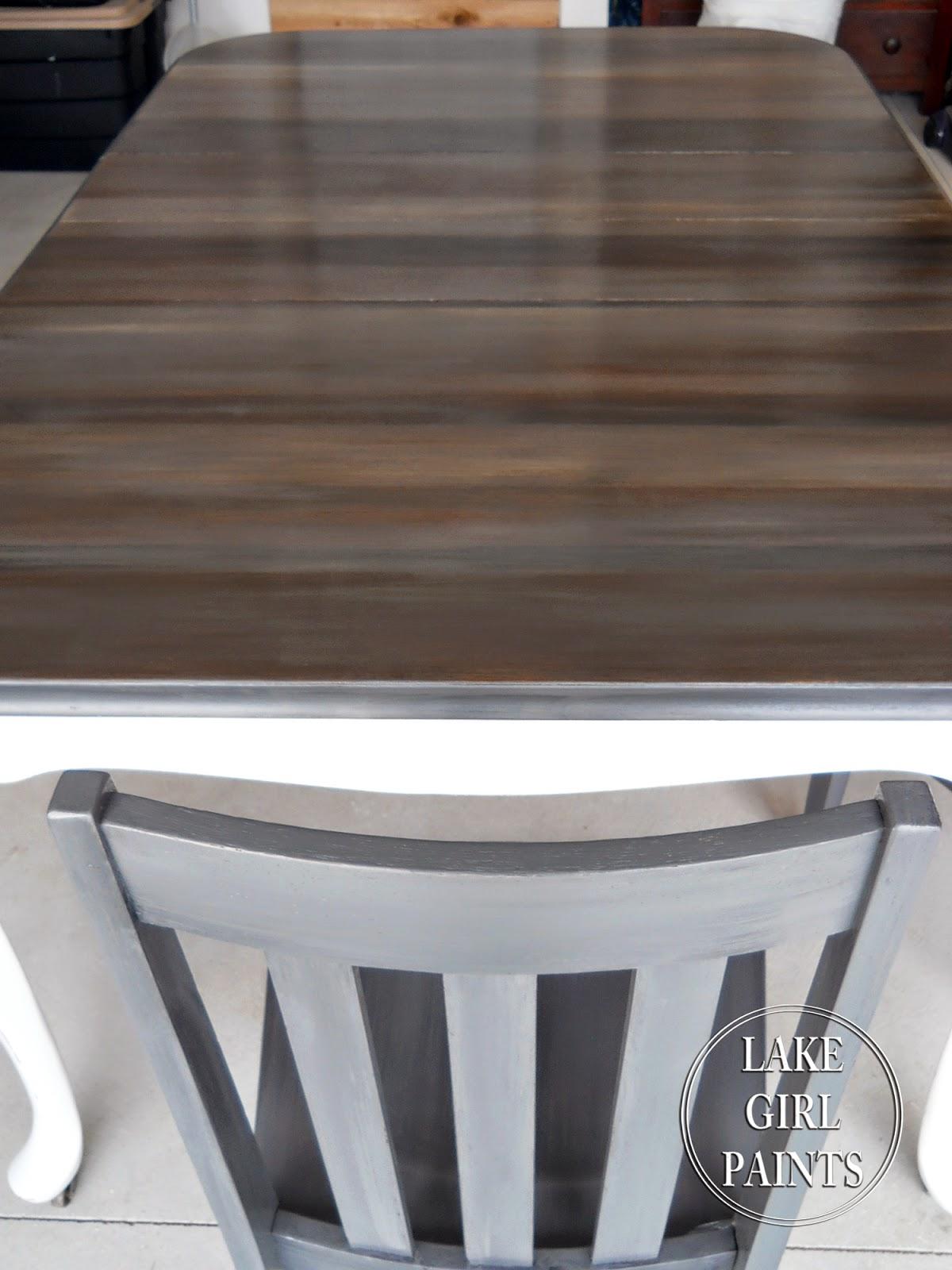 Lake Girl Paints Dining Table Peeks Of Wood Grain
