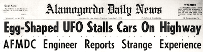 Egg-Shaped UFO Stalls Cars On Highway (Header) - Alamogordo Daily News 11-5-1957