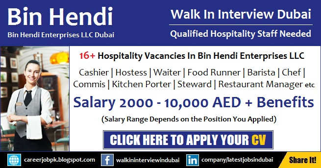 Bin Hendi Dubai Jobs for Hospitality Staff Walk in Interview