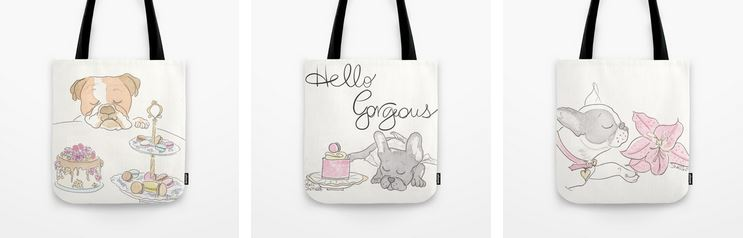 pet and paris tote bags by shell sherree